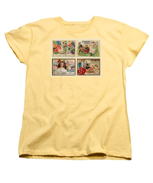 Women's T-Shirt (Standard Cut) featuring the drawing Vintage Flower Seed Packets by Peggy Collins