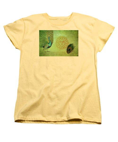 Women's T-Shirt (Standard Cut) featuring the digital art Vintage Peacock Art by Peggy Collins