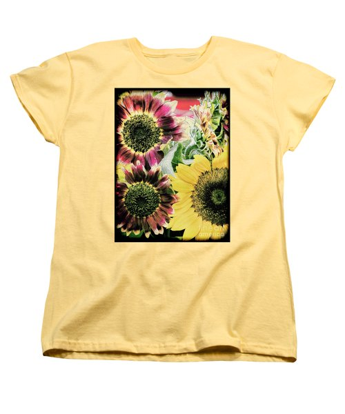 Vintage Sunflowers Women's T-Shirt (Standard Cut) by Karen Lewis