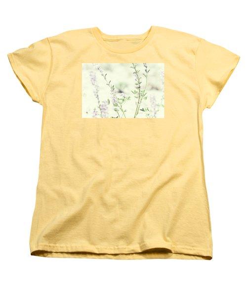 Violet And Green Bloom Women's T-Shirt (Standard Cut) by Amyn Nasser