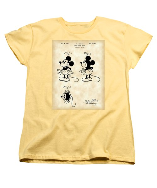 Walt Disney Mickey Mouse Patent 1929 - Vintage Women's T-Shirt (Standard Cut) by Stephen Younts