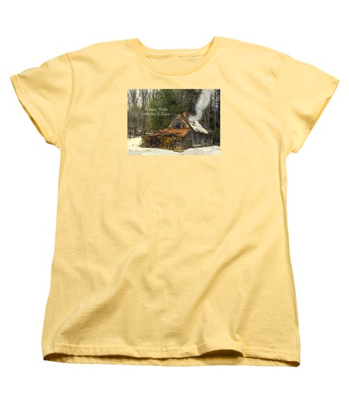 Women's T-Shirt (Standard Cut) featuring the photograph Warmest Wishes For The Holiday Season Greeting Card by Betty Denise