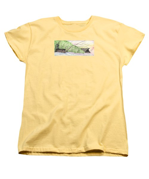 Women's T-Shirt (Standard Cut) featuring the painting Watercolor Barn by Darren Cannell