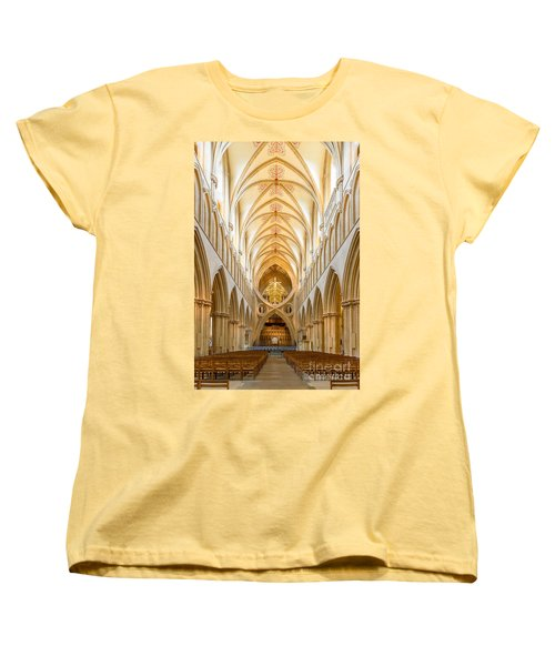 Women's T-Shirt (Standard Cut) featuring the photograph Wells Cathedral Nave by Colin Rayner