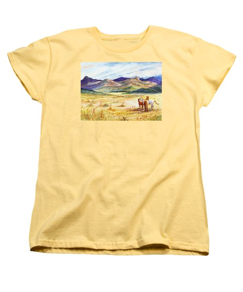 Women's T-Shirt (Standard Cut) featuring the painting What Lies Beyond by Marilyn Smith