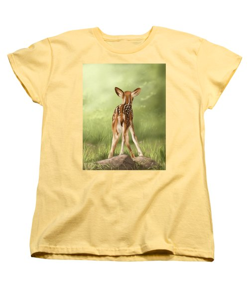 Women's T-Shirt (Standard Cut) featuring the painting Where Is My Mom? by Veronica Minozzi