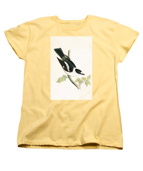 White Collared Flycatcher Women's T-Shirt (Standard Cut) by English School
