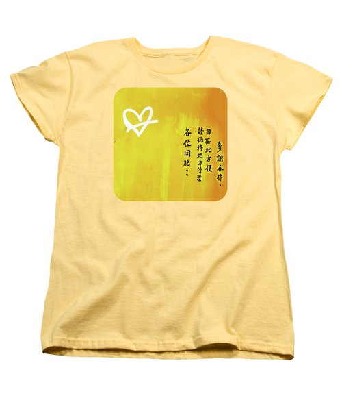 Women's T-Shirt (Standard Cut) featuring the photograph White Heart On Orange by Ethna Gillespie