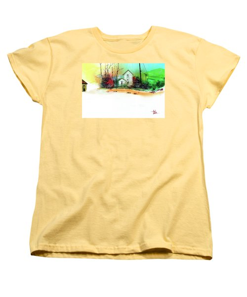 Women's T-Shirt (Standard Cut) featuring the painting White Houses by Anil Nene
