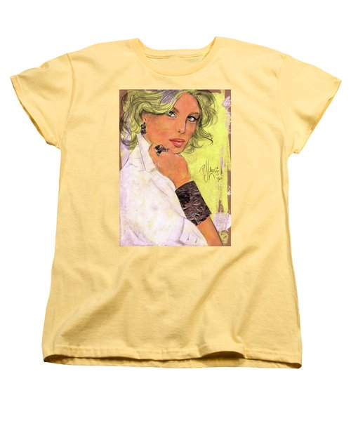 Women's T-Shirt (Standard Cut) featuring the painting White Silver by P J Lewis