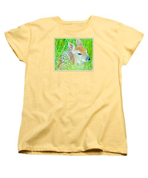 Women's T-Shirt (Standard Cut) featuring the photograph Whitetailed Deer Fawn by A Gurmankin