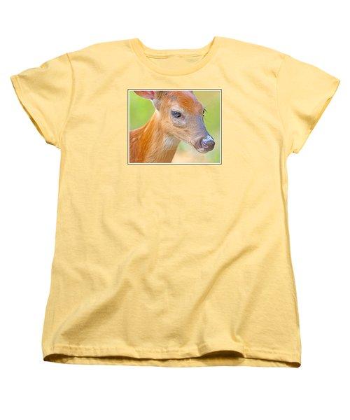 Women's T-Shirt (Standard Cut) featuring the photograph Whitetailed Deer Fawn Portrait by A Gurmankin