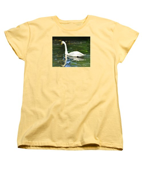 Women's T-Shirt (Standard Cut) featuring the painting Whooper Swan Gratitude by Diane E Berry