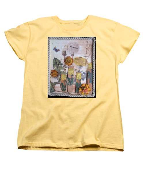 Women's T-Shirt (Standard Cut) featuring the mixed media Wildflower Honey by Sandy McIntire