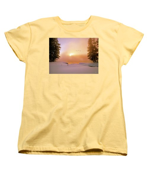 Women's T-Shirt (Standard Cut) featuring the photograph Winter Swans by Leland D Howard