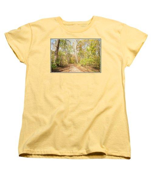 Woodland Path, Autumn, Montgomery County, Pennsylvania Women's T-Shirt (Standard Cut) by A Gurmankin