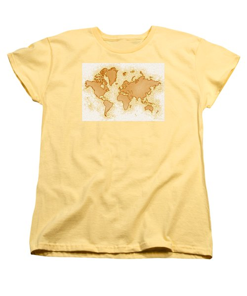World Map Airy In Brown And White Women's T-Shirt (Standard Cut) by Eleven Corners
