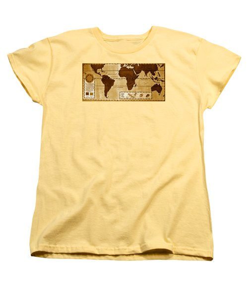 World Map Of Coffee Women's T-Shirt (Standard Cut) by David Lee Thompson