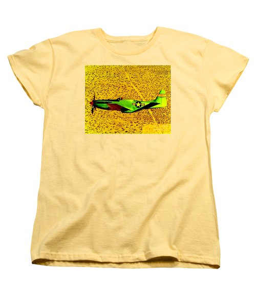 Women's T-Shirt (Standard Cut) featuring the photograph Wwll P51 Mustang  by Greg Moores