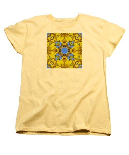 Yellow Coneflower Kaleidoscope Women's T-Shirt (Standard Cut) by Smilin Eyes  Treasures