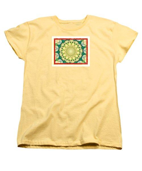 Yellow Floral Medallion Women's T-Shirt (Standard Cut) by Shirley Moravec