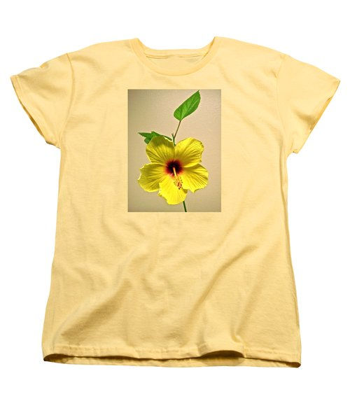 Yellow Hibiscus Women's T-Shirt (Standard Cut) by Stephanie Moore