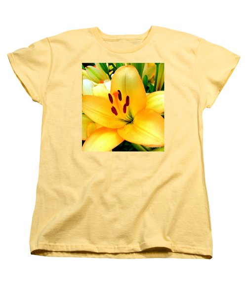 Women's T-Shirt (Standard Cut) featuring the photograph Yellow Lilies 1 by Randall Weidner