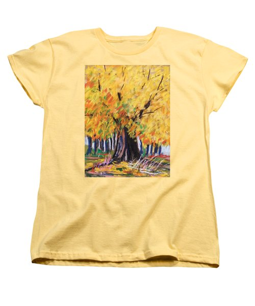 Women's T-Shirt (Standard Cut) featuring the painting Yellow Maple Wet Trunk by John Williams