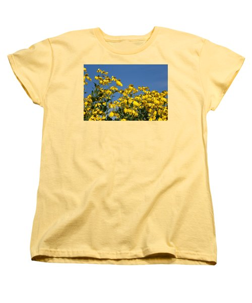 Women's T-Shirt (Standard Cut) featuring the photograph Yellow On Blue by Lois Lepisto