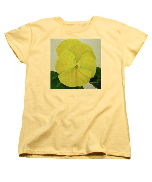 Women's T-Shirt (Standard Cut) featuring the painting Yellow Pansy by Wendy Shoults