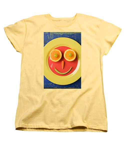 Yellow Plate With Food Face Women's T-Shirt (Standard Cut) by Garry Gay