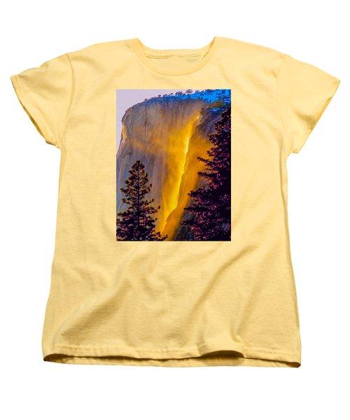 Yosemite Firefall Painting Women's T-Shirt (Standard Cut) by Dr Bob Johnston