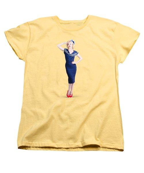 Young Retro Pinup Girl Wearing Sailor Uniform Women's T-Shirt (Standard Cut)