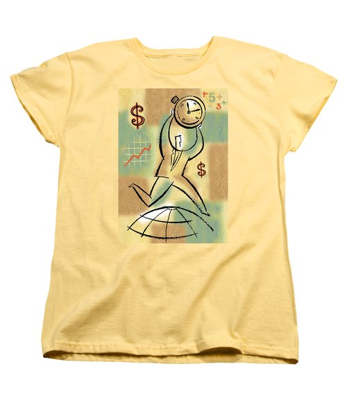 Women's T-Shirt (Standard Cut) featuring the painting Your Income by Leon Zernitsky