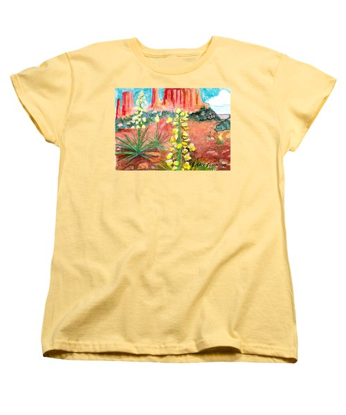 Women's T-Shirt (Standard Cut) featuring the painting Yucca In Monument Valley by Eric Samuelson