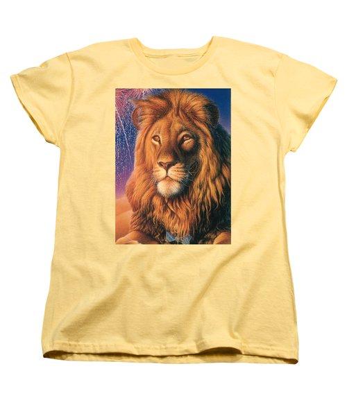 Zoofari Poster The Lion Women's T-Shirt (Standard Cut) by Hans Droog