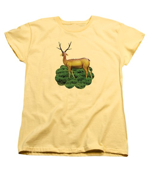 Pretty Deers Playing In The Forest. Women's T-Shirt (Standard Fit)