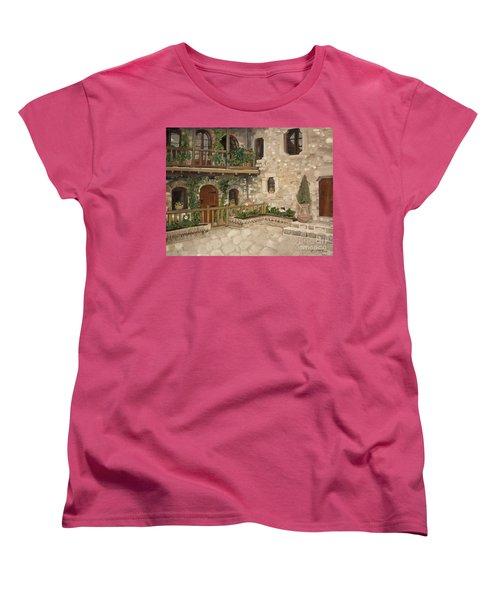 Women's T-Shirt (Standard Cut) featuring the painting Greek Courtyard - Agiou Stefanou Monastery -balcony by Jan Dappen