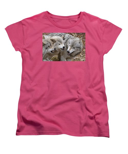 Women's T-Shirt (Standard Cut) featuring the photograph  Alpha Displeasure 2 by Wolves Only