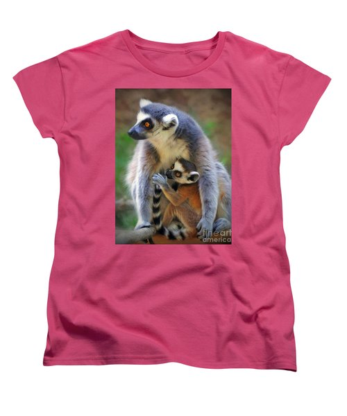 Women's T-Shirt (Standard Cut) featuring the photograph    Mother And Baby Monkey by Savannah Gibbs