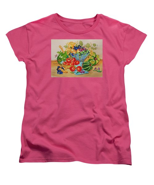 Red Apples And  Grapes Oil Painting Women's T-Shirt (Standard Cut) by Johanna Bruwer