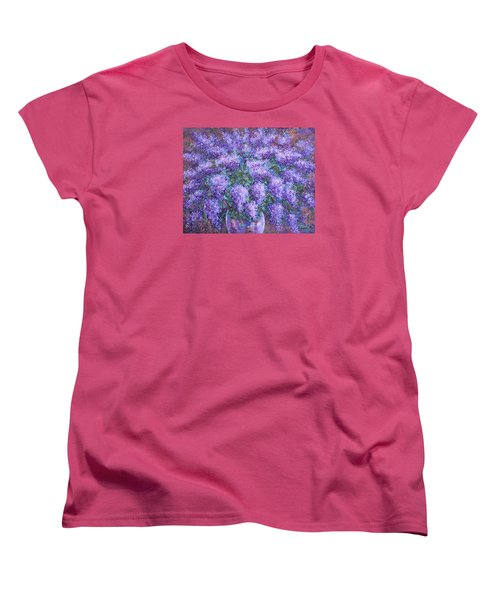 Women's T-Shirt (Standard Cut) featuring the painting  Scented Lilacs Bouquet by Natalie Holland