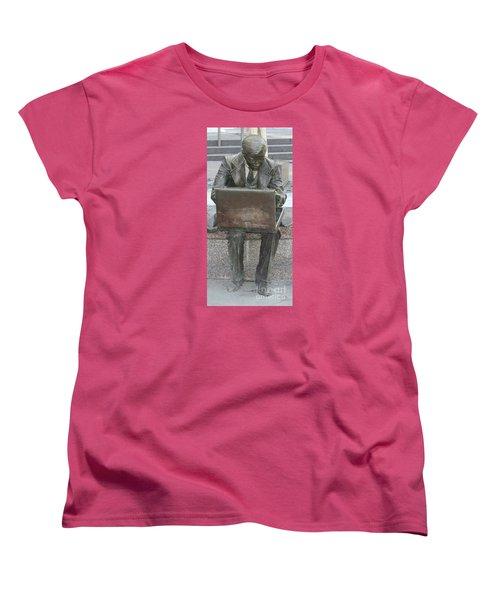 Women's T-Shirt (Standard Cut) featuring the photograph  Wall Street Memorial Statue by John Telfer