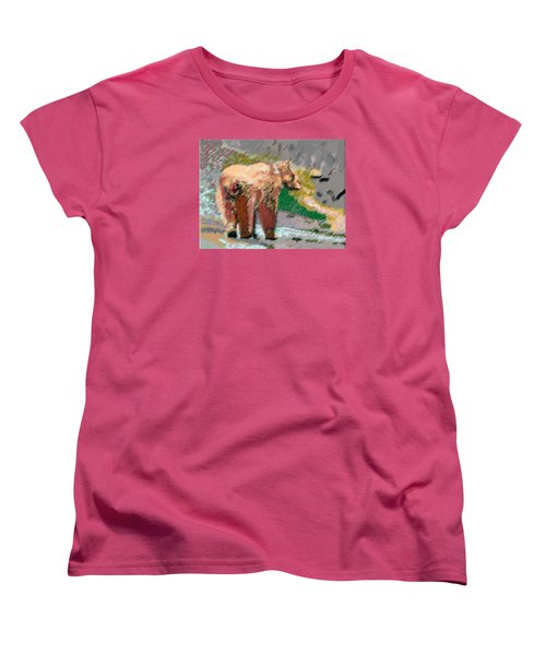 081914 Pastel Painting Grizzly Bear Women's T-Shirt (Standard Cut) by Garland Oldham