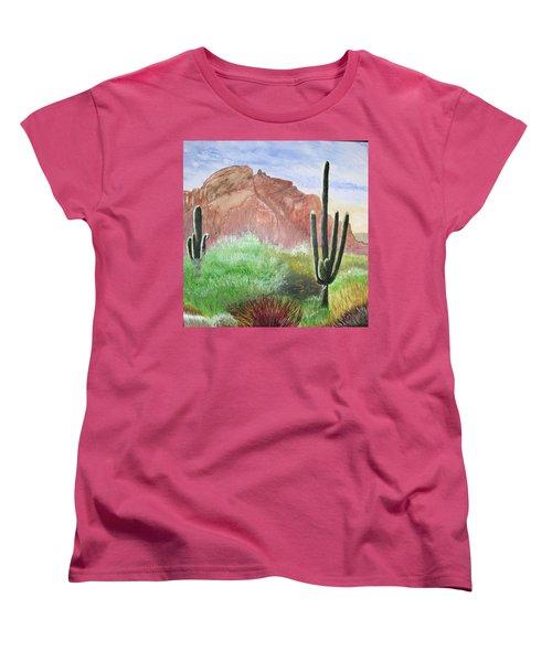 2 Saguaros Women's T-Shirt (Standard Cut) by Maris Sherwood