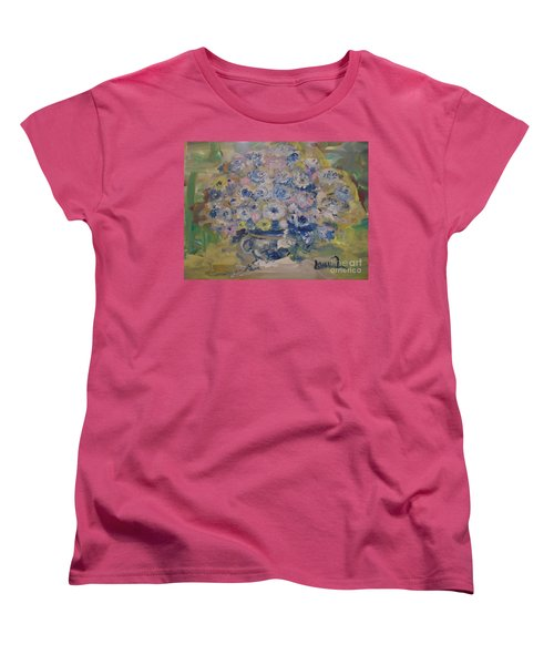 Women's T-Shirt (Standard Cut) featuring the painting Flow Bleu by Laurie L