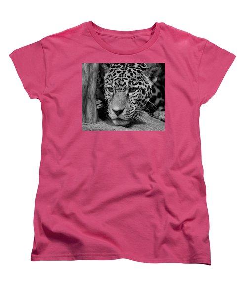 Jaguar In Black And White II Women's T-Shirt (Standard Cut) by Sandy Keeton