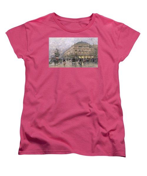 Parisian Street Scene Women's T-Shirt (Standard Cut) by Eugene Galien-Laloue