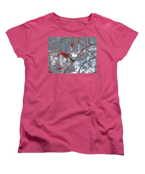 Pine Grosbeak And Mountain Ash Women's T-Shirt (Standard Cut) by Leone Lund