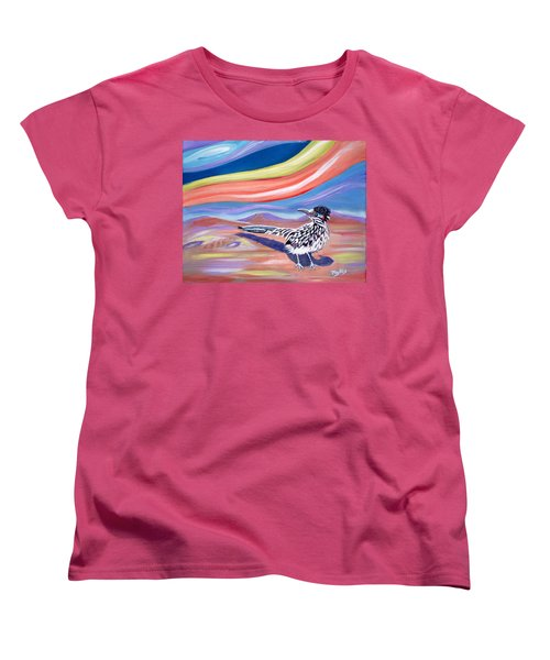 Women's T-Shirt (Standard Cut) featuring the painting Posy 2 The Roadrunner by Phyllis Kaltenbach